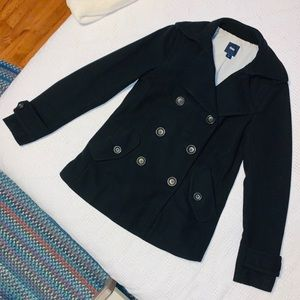 GAP Black Double-Breasted Pea Coat- Sz M. EUC!!